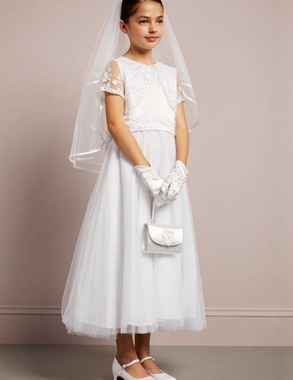 abdc1fb7254b Biele dlhé šaty na 1. sväté prijímanie s čipkou s krátkym rukávom 067JR