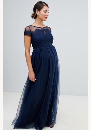 1f299912ea70 Tmavomodré dlhé tehotenské šaty s čipkou s krátkym rukávom 448C