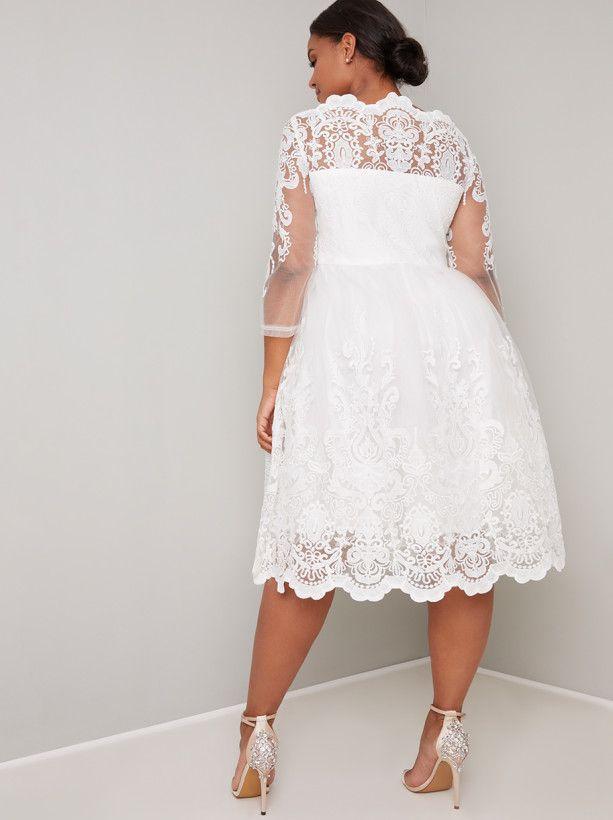 11d1a50869fd Plus biele midi čipkované šaty s 3 4 rukávom 191C - Salón Emily
