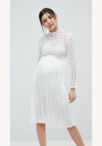 80863562910a Biele midi tehotenské šaty so skladanou sukňou s dlhým rukávom 311L