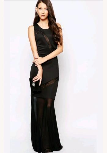 2cc33a3d59c2 Čierne dlhé úzke šaty so sieťovinou s perličkami bez rukávov 449AR