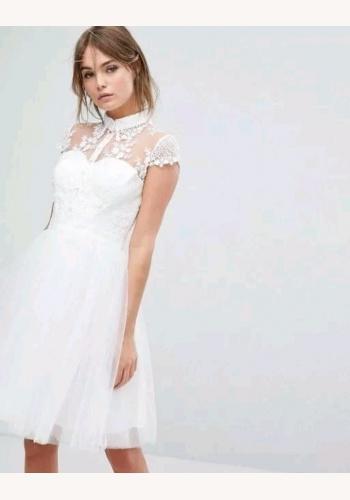 4f768ae451b5 Biele mini šaty s čipkou s golierom s krátkym rukávom 290C