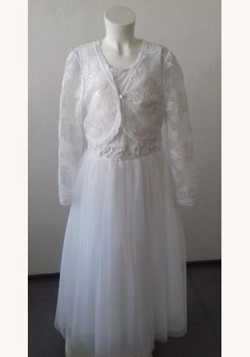 051dbd57b3e5 Biele dlhé šaty na 1. sväté prijímanie bez rukávov s čipkovaným bolerkom s  dlhým rukávom