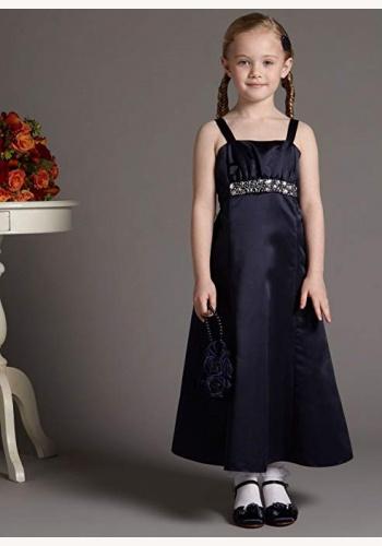 7d3b9909f6dc Tmavomodré dlhé šaty s kamienkami na ramienka 054T