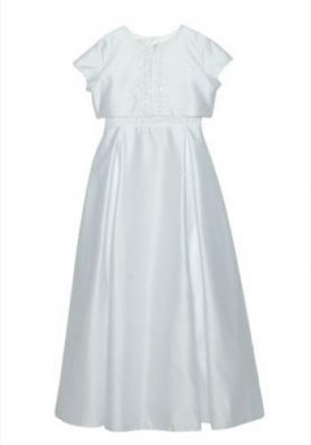 8e5450d8c5bc Biele dlhé šaty na 1. sväté prijímanie bez rukávov s bolerkom s krátkym  rukávom 074PF