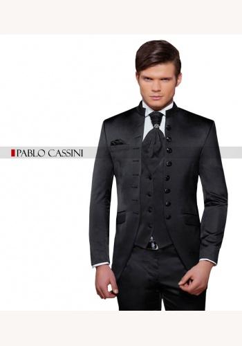 abb2de247 Čierny pánsky svadobný 8-dielny oblek tuxedo slim fit 066P