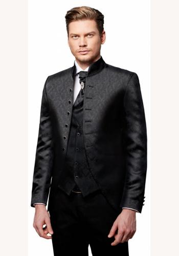 b24339e8b Čierny pánsky svadobný 8-dielny oblek tuxedo slim fit 069Pa