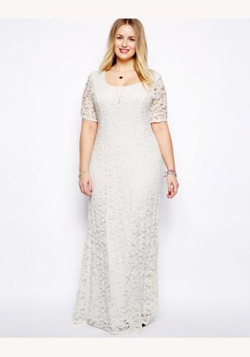 881432e38d47 Biele dlhé svadobné čipkované šaty s krátkym rukávom 243D