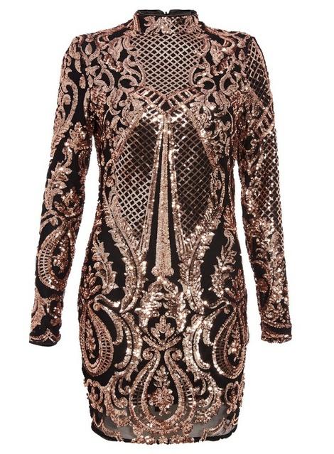 7a5af2282a63 Čierno-ružovozlaté mini flitrované úzke šaty s dlhým rukávom 291Q ...