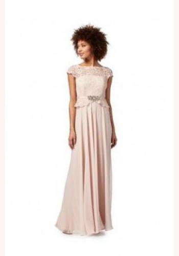 ac21013a32 Jenny Packham svetloružové dlhé šaty s čipkou s krátkym rukávom 411JP