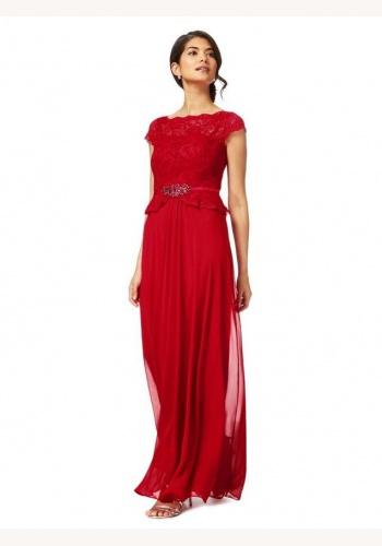75fa82765b0b Jenny Packham tmavoružové dlhé šaty s čipkou s krátkym rukávom 411JPb