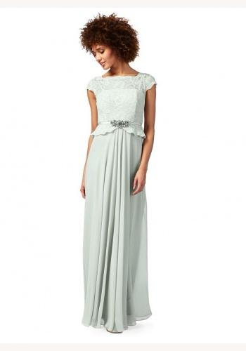 52317c6761de Jenny Packham svetlozelené dlhé šaty s čipkou s krátkym rukávom 411JPc