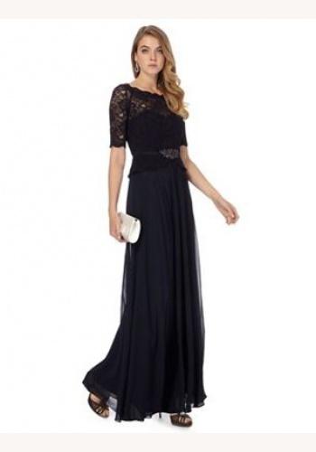 c111368492 Jenny Packham tmavomodré dlhé šaty s čipkou s krátkym rukávom 412JPa