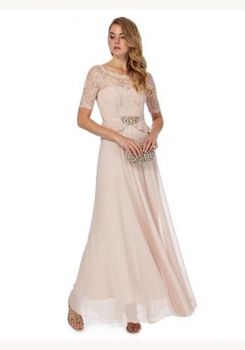 cf074e2149b2 Jenny Packham svetloružové dlhé šaty s čipkou s krátkym rukávom 412JP