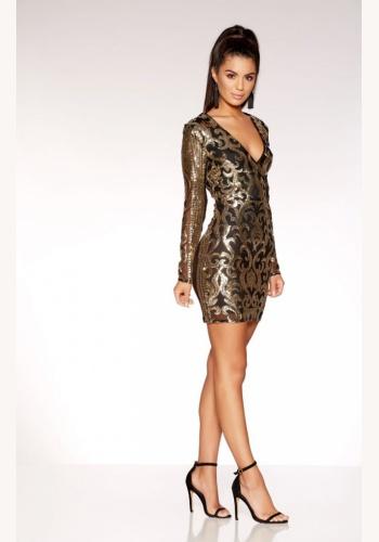 399525aca728 Čierno-zlaté mini flitrované úzke šaty s dlhým rukávom 293Q