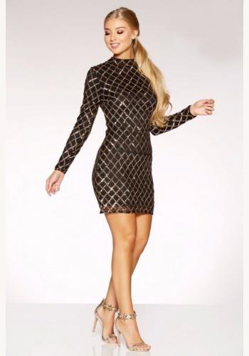 5bf3fbae7185 Čierno-zlaté mini flitrované úzke šaty s dlhým rukávom 294Q