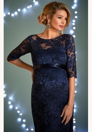 870706e06915 Tiffany Rose tmavomodré midi tehotenské čipkované šaty s 3 4 rukávom 296TRb