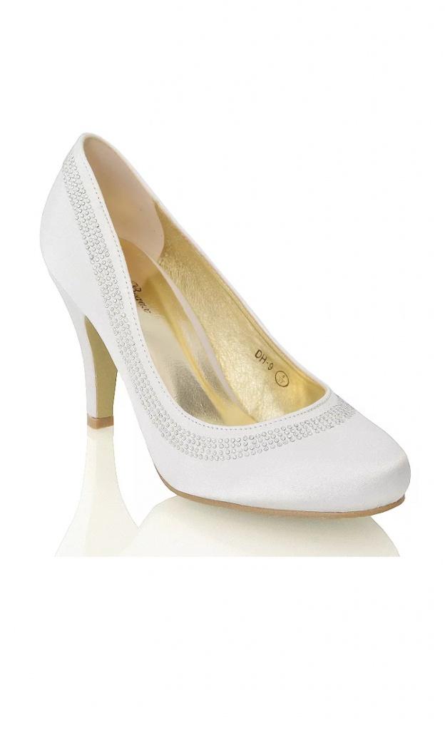 9d882a7b8208e Smotanové svadobné saténové topánky na strednom opätku 072 - Salón Emily