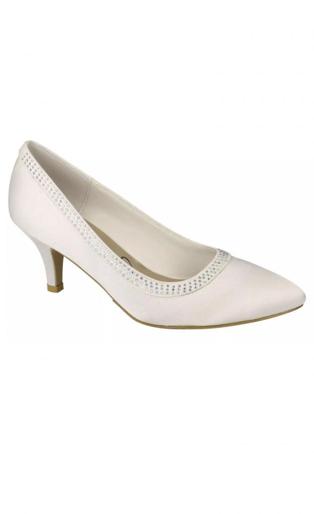 eea332da0c Smotanové svadobné saténové topánky na strednom opätku 073 - Salón Emily