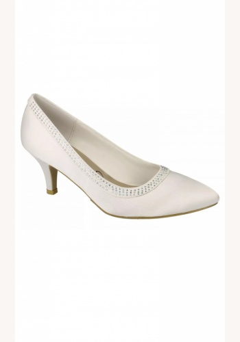 726ed425f7b4d Smotanové svadobné saténové topánky na strednom opätku 073