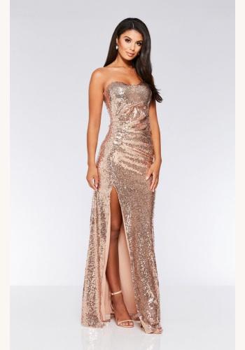 a991d23cbe45 Šampanské-zlaté dlhé flitrované korzetové šaty s rozparkom 450Q