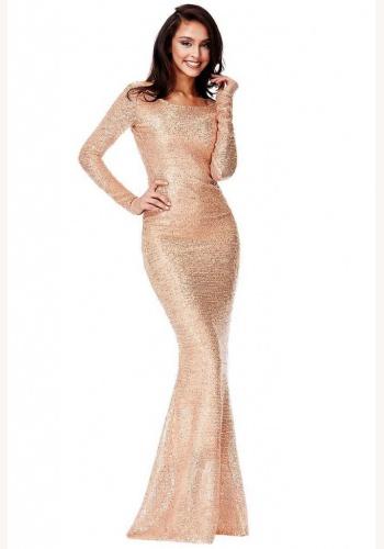 df665be57f03 Ružovo-zlaté dlhé flitrované úzke šaty s dlhým rukávom morská panna 451Q