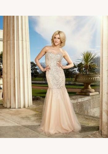 9838f9016de3 Béžové dlhé korzetové šaty s kamienkami morská panna 436AR