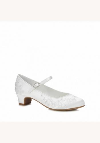 dd3b9474a3d1 Biele saténové vyšívané topánky na nízkom opätku 028DO