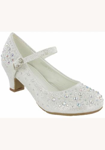 874d975058 Biele diamantové topánky na nízkom opätku 030E