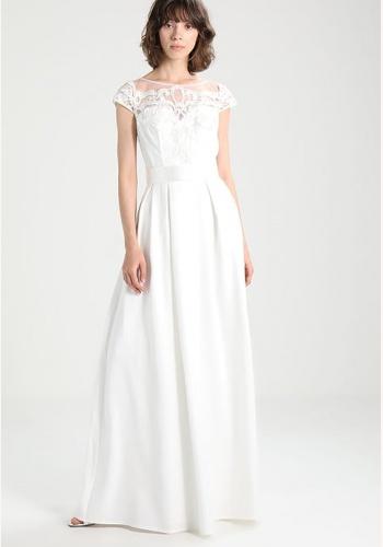 3ca7f7ce4001 Smotanové dlhé saténové šaty s čipkou s krátkym rukávom 244C