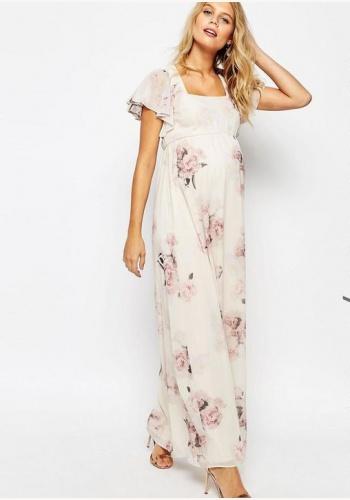 a81aa82b73ae Smotanové dlhé tehotenské šaty s kvetinovou potlačou s krátkym rukávom 452A