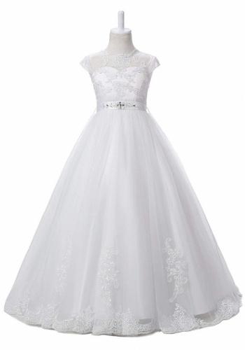 18fe80934a4b Biele smotanové dlhé šaty na 1. sväté prijímanie s čipkou 078AZ