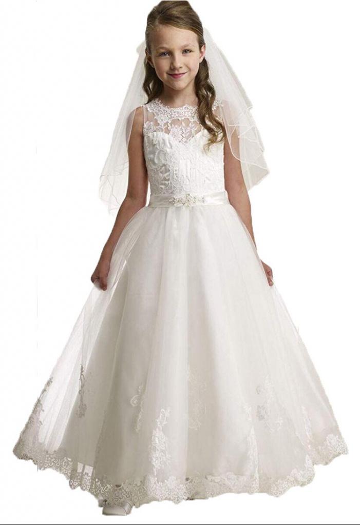 2941ffa02cd3 Biele dlhé šaty na 1. sväté prijímanie s čipkou bez rukávov 079AZ ...