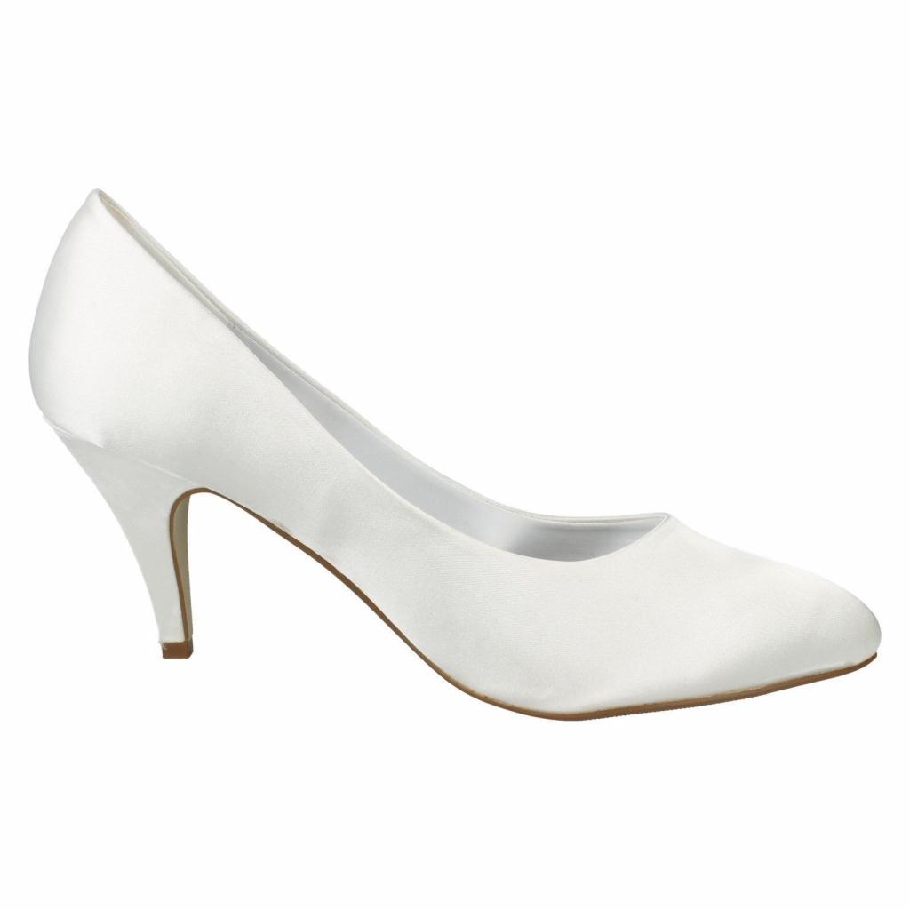 85732ff1d6 Biele svadobné saténové topánky na strednom opätku 012EAM - Salón Emily