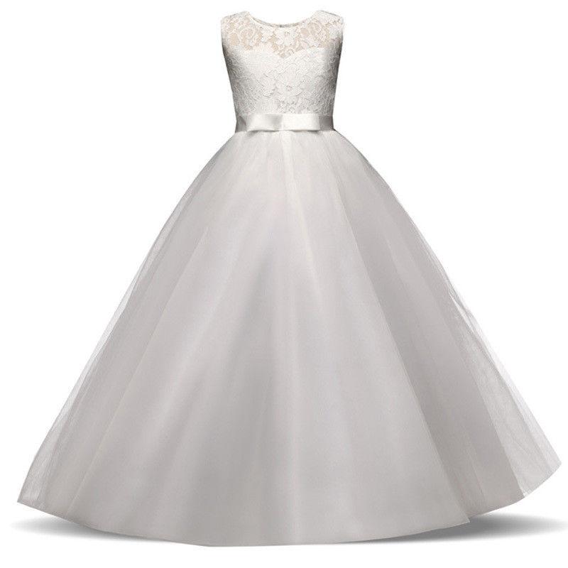 544af27e2f2b Biele dlhé šaty na 1. sväté prijímanie s čipkou bez rukávov 080E ...