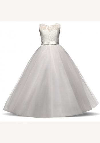 ded8d04ba9e1 Biele dlhé šaty na 1. sväté prijímanie s čipkou bez rukávov 080E