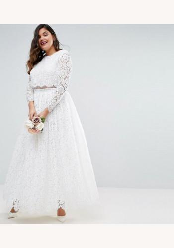 4da8245dad82 Plus biele dlhé čipkované šaty s dlhým rukávom 316A