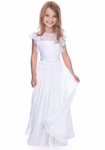 8337432248fc Biele dlhé čipkované šaty na 1. sväté prijímanie s volánovým rukávom 081AZ