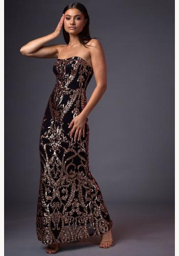 c6021f4aca63 Čierno-ružové dlhé úzke korzetové flitrované šaty 453IS