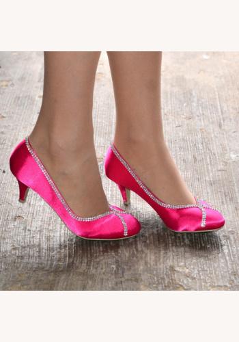 5338e05738e21 Ružové saténové diamantové topánky na nízkom opätku 076E