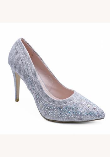 38e35a3dd6290 Strieborné diamantové topánky na vysokom opätku 077E