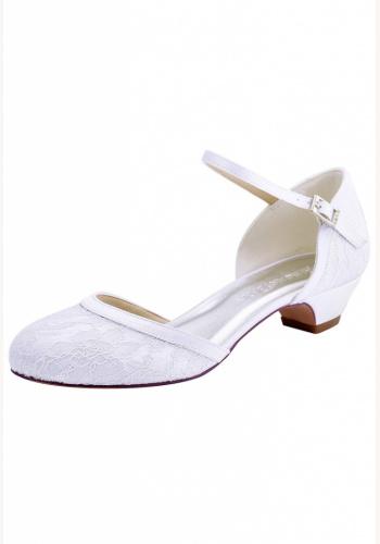 27e461a64f4a Biele svadobné čipkované topánky na nízkom opätku 075AZ