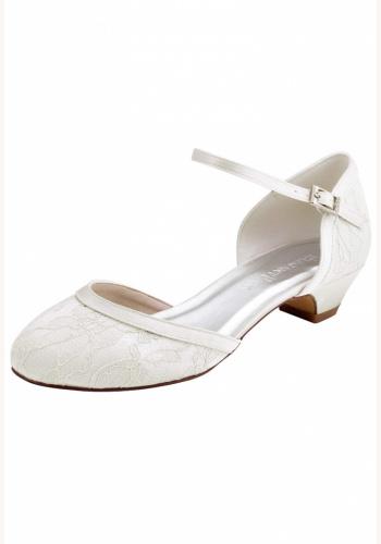 0e38681092c2a Smotanové svadobné čipkované topánky na nízkom opätku 075AZa