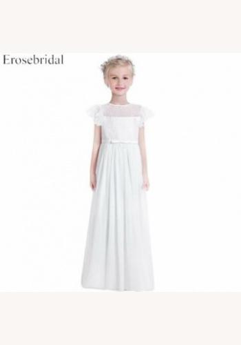 a2275fe7a4ad Biele dlhé šaty na 1. sväté prijímanie s čipkou s krátkym rukávom 082E