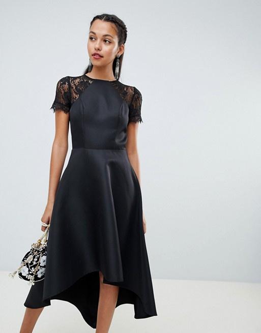 7d42a12c5f88 Čierne asymetrické šaty s čipkou s krátkym rukávom 451Ca - Salón Emily
