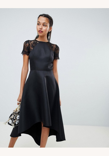 743f0dc2d Čierne asymetrické šaty s čipkou s krátkym rukávom 451Ca