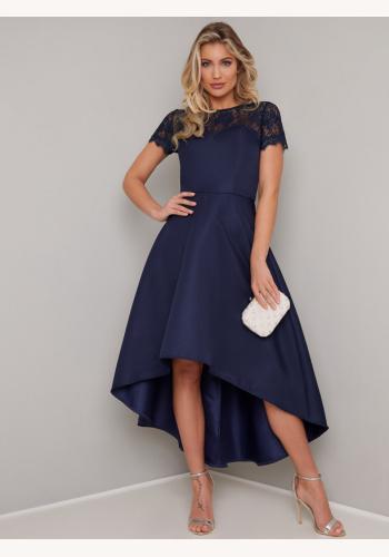 2a453d248601 Tmavomodré asymetrické šaty s čipkou s krátkym rukávom 451Cc