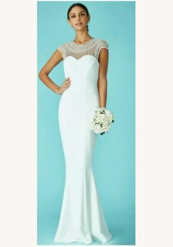 cc93f8e8e441 Biele dlhé šaty s kamienkami morská panna 454CG