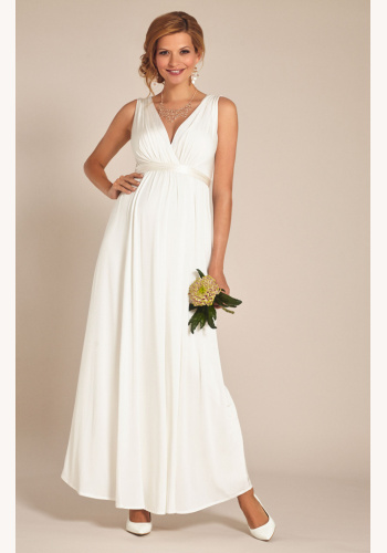 6bb04bb8c929 Tiffany Rose smotanové dlhé svadobné tehotenské šaty s výstrihom bez rukávov  455TR