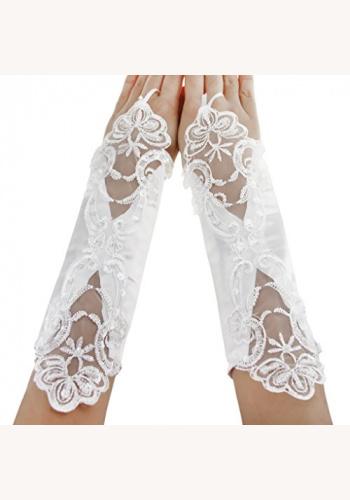 626d538f507f Biele saténové rukavičky na prst 050AZ